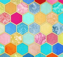 Patterned Honeycomb Patchwork in Jewel Colors Sticker