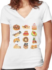 Puppy Pastries Women's Fitted V-Neck T-Shirt
