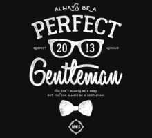 Always Be A Gentlemen [White Mono] One Piece - Short Sleeve