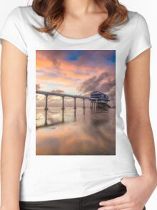 Stormy Lifeboat Station Sunset Women's Fitted Scoop T-Shirt