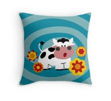 Psychedelic Cow Throw Pillow