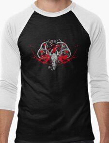 black and white deer skull with horns in graphic Men's Baseball ¾ T-Shirt