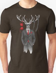 image of man with deer's head and lingerie items on horns Unisex T-Shirt