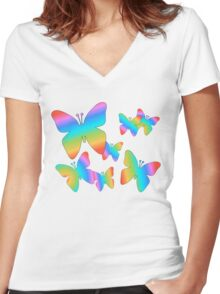 Colorful Butterflies Women's Fitted V-Neck T-Shirt