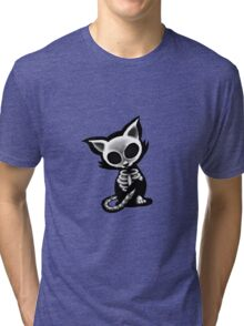 Skeleton cat blue bg Tri-blend T-Shirt