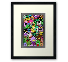 Monsters Doodles Characters Saga Framed Print