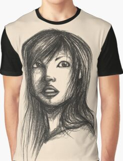 Beautiful Woman Artist Pencil Sketch 2 Graphic T-Shirt
