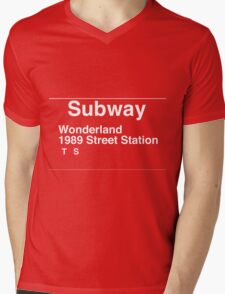 Taylor Swift Found Wonderland Subway Pun Mens V-Neck T-Shirt