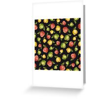 Apples on a black background Greeting Card