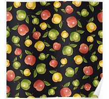 Apples on a black background Poster