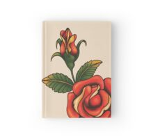old school tattoo rose Hardcover Journal