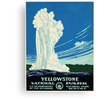 Yellow Stone Park - Vintage Travel Poster Canvas Print