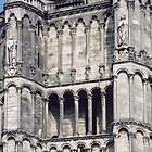 Left hand tower Cathedral Sens France 198405050084  by Fred Mitchell