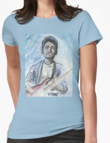 John Mayer in watercolor.  Womens Fitted T-Shirt