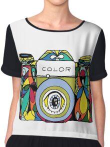Colorful Camera  Chiffon Top