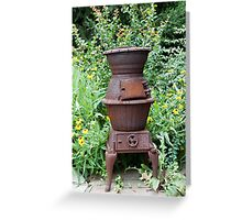 Cast Iron Stove and Wild Flowers Greeting Card