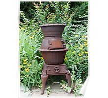 Cast Iron Stove and Wild Flowers Poster