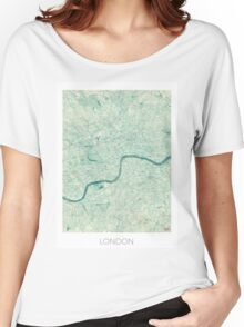 London Map Blue Vintage Women's Relaxed Fit T-Shirt