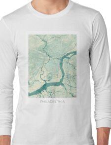 Philadelphia Map Blue Vintage Long Sleeve T-Shirt