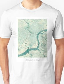 Philadelphia Map Blue Vintage Unisex T-Shirt