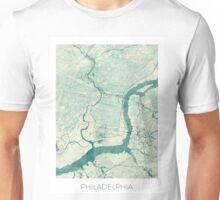 Philadelphia Map Blue Vintage Unisex T-Shirt