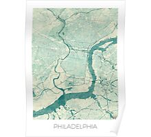 Philadelphia Map Blue Vintage Poster