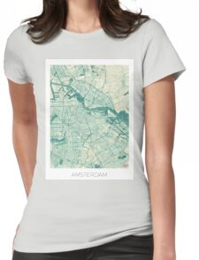 Amsterdam Map Blue Vintage Womens Fitted T-Shirt