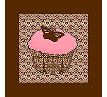 Strawberry Pink Frosted Cupcake Photographic Print