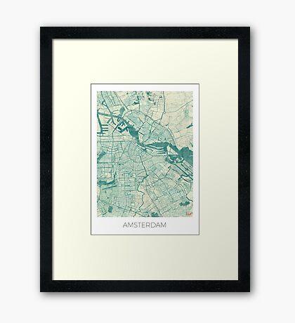 Amsterdam Map Blue Vintage Framed Print