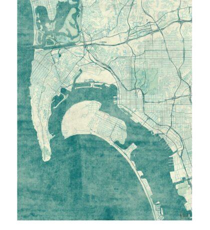 San Diego Map Blue Vintage Sticker