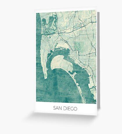 San Diego Map Blue Vintage Greeting Card