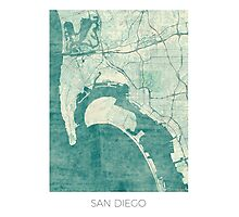 San Diego Map Blue Vintage Photographic Print