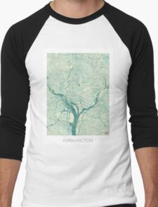 Washington Map Blue Vintage Men's Baseball ¾ T-Shirt