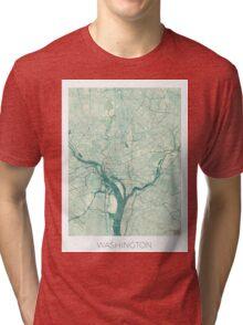 Washington Map Blue Vintage Tri-blend T-Shirt