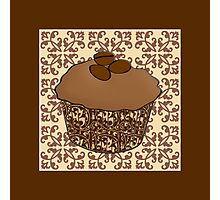 Mocha Frosted Cupcake, Lace Background Photographic Print
