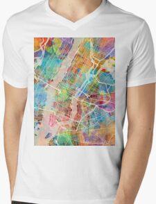 New York City Street Map Mens V-Neck T-Shirt