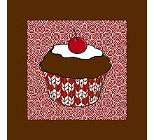 Chocolate Cupcake on Red and White Pattern Photographic Print