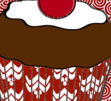 Chocolate Cupcake on Red and White Pattern Sticker