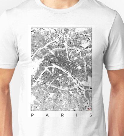 Paris Map Schwarzplan Only Buildings Urban Plan Unisex T-Shirt