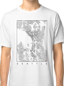 Seattle Map Schwarzplan Only Buildings Urban Plan Classic T-Shirt