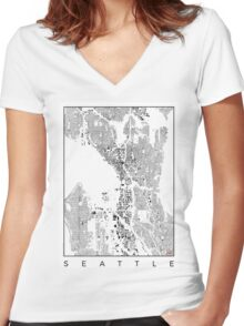 Seattle Map Schwarzplan Only Buildings Urban Plan Women's Fitted V-Neck T-Shirt
