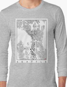 Seattle Map Schwarzplan Only Buildings Urban Plan Long Sleeve T-Shirt