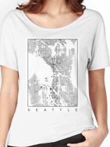 Seattle Map Schwarzplan Only Buildings Urban Plan Women's Relaxed Fit T-Shirt