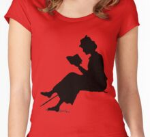 Reading outdoors: late Victorian - era silhouette of woman with book Women's Fitted Scoop T-Shirt