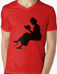 Reading outdoors: late Victorian - era silhouette of woman with book Mens V-Neck T-Shirt