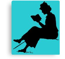 Reading outdoors: late Victorian - era silhouette of woman with book Canvas Print