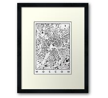 Moscow Map Schwarzplan Only Buildings Urban Plan Framed Print
