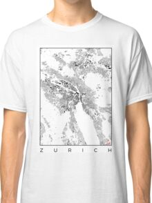 Zurich Map Schwarzplan Only Buildings Urban Plan Classic T-Shirt