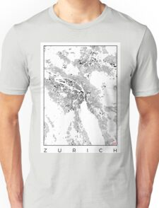 Zurich Map Schwarzplan Only Buildings Urban Plan Unisex T-Shirt