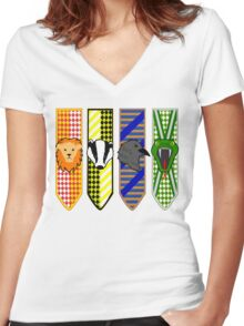 Hogwarts House Mascot Banners Women's Fitted V-Neck T-Shirt
